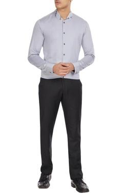 Dhruv Vaish Grey shawl neckline button down shirt