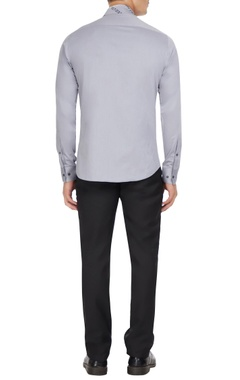 Grey shawl neckline button down shirt