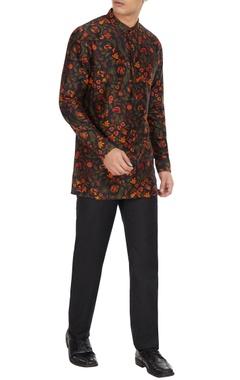Dhruv Vaish Multicolored floral printed long sleeve chanderi silk short kurta