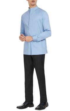 Blue cotton long sleeve shirt