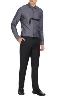 Dhruv Vaish Smoke grey cotton button down shirt