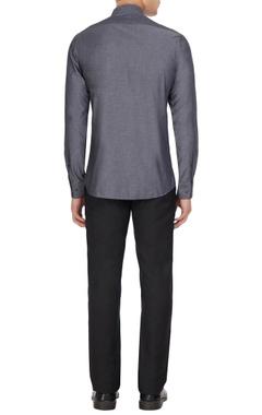 Smoke grey cotton button down shirt