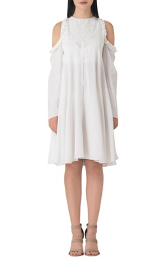White cotton cold shoulder dress with pearl embellishment.