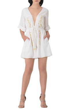 White embroidered cotton playsuit