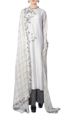 Light grey floral dori embroidered kurta set
