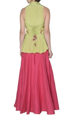 Green wrap blouse with dupion silk skirt
