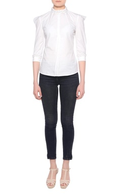 Platinoir White puffed sleeve blouse with three-quarter sleeves