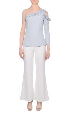 Platinoir Pale blue one-shoulder crepe blouse