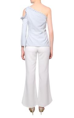 Pale blue one-shoulder crepe blouse