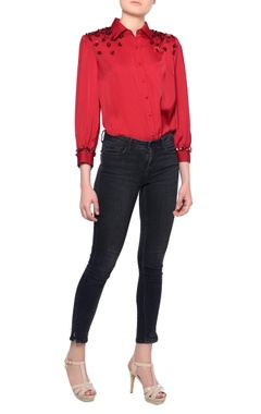 Platinoir Red long sleeve sequin embroidered blouse