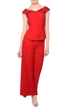 Platinoir Red bead embellished blouse with flared trousers