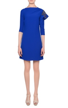 Platinoir Blue bead embellished mini dress