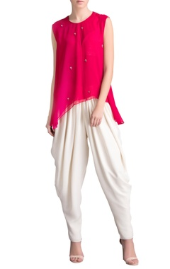 pink sleeveless mirror work tunic