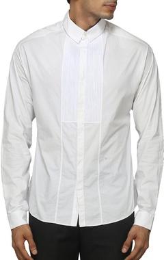White pleated yoke shirt