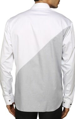 White shirt with grey zippered detailing