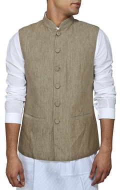 Grey and fawn reversible nehru jacket