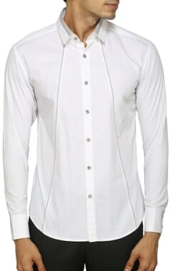 White shirt with contrast grey detailing
