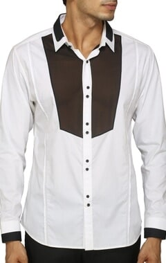 White shirt with contrast black yoke