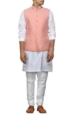Dusty pink checked nehru jacket