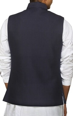 navy blue checked nehru jacket