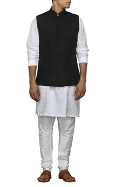Black diamond quilted nehru jacket