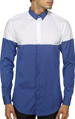 white and blue color blocked shirt