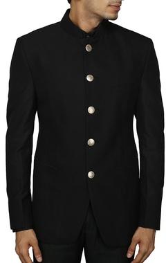 classic black bandhgala suit