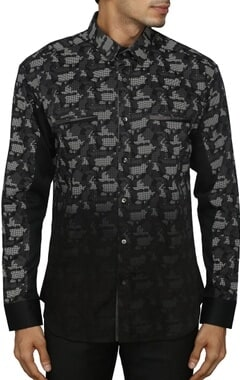 Black and grey camouflage printed shirt