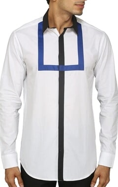white shirt with black and blue patch
