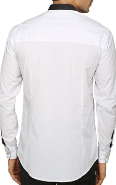 White and black color blocked shirt