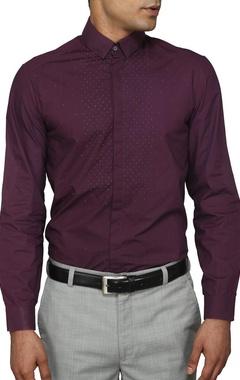 Purple polka embroidered shirt