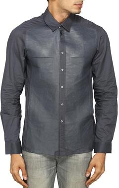 Grey bonded leather shirt
