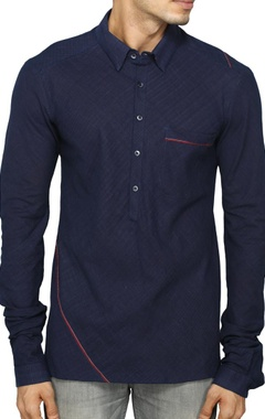 navy blue shirt with contrast piping