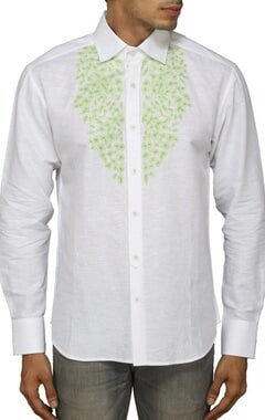 White shirt with green floral embroidery
