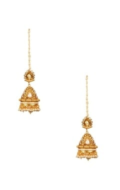 gold plated pearl & crystal jhumkas