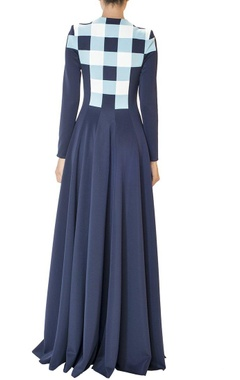Navy blue pleated checked gown
