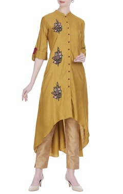 Joy Mitra Patchwork tunic with asymmetric hemline