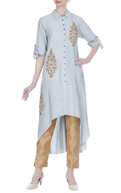 Joy Mitra Leaf motif embroidered tunic