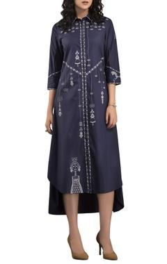 AM:PM Navy blue screen printed shirt dress