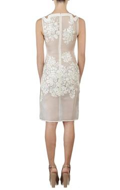 Ivory floral applique sheath dress