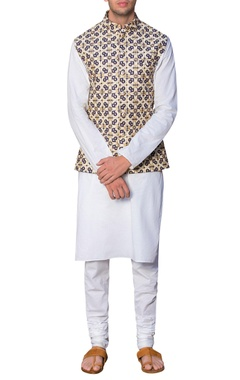Siddhartha Tytler - Men Embroidered waistcoat with malmal kurta & churidar