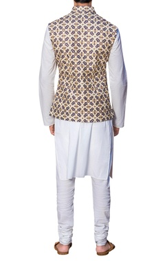 Embroidered waistcoat with malmal kurta & churidar