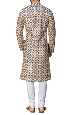 Embroidered sherwani with malmal kurta & churidar