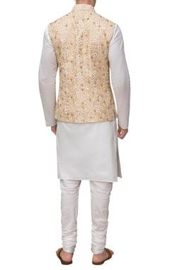 Embroidered waistcoat with kurta & churidar