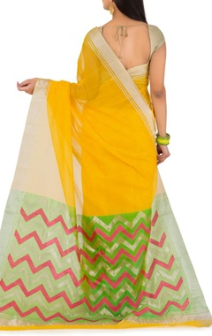 Yellow and green ziz zag chanderi sari