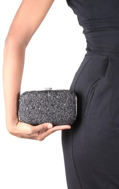 grey dimante box clutch