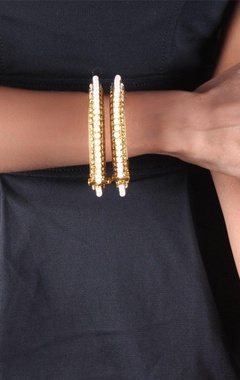 gold plated pearl bangles with dimante