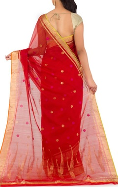 red polka chanderi sari