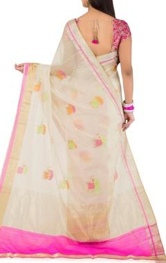 off white & pink chanderi sari