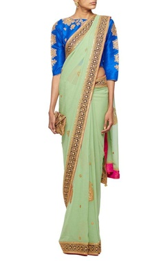 Pale green gota embroidered sari